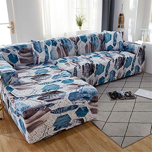 Hiseng Funda Elástica de Sofá Universal Chaise Longue Fundas Protectora para Sofa contra Polvo en Forma de L 2 Piezas Extraíbles y Lavables Cubre Proteger (Pluma Azul,2 Asientos + 3 Asientos)