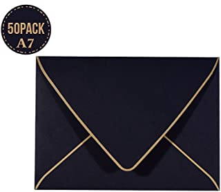 A7 Black Envelopes 5 x 7,50Pack,- For 5x7 Cards  Self Seal  Perfect for Weddings, Invitations, Photos, Graduation, Baby Shower  250GSM Luxury paper 5.25 x 7.25 Inches (Black)