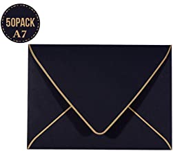A7 Black Envelopes 5 x 7,50Pack,- For 5x7 Cards| Self Seal| Perfect for Weddings, Invitations, Photos, Graduation, Baby Shower| 250GSM Luxury paper|5.25 x 7.25 Inches (Black)