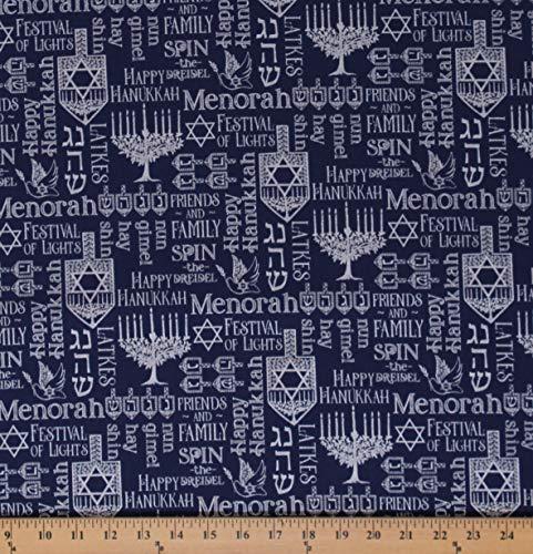 Cotton Happy Hanukkah Menorah Candles Star of David Jewish Hebrew Faith Navy Cotton Fabric Print by The Yard (D501.56)