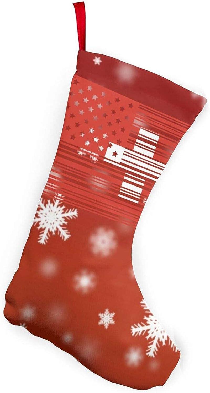 Código de barras Bandera de Portugal Americana de 25,4 cm Medias de Navidad Decoración del hogar Regalos Código de barras Bandera de Suiza Americana