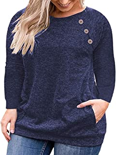 VISLILY Women's Plus Size Tops Long Sleeve Buttons Sweatshirts Casual Shirt with Pockets