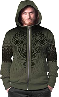 Men's Print Hoodie Abstract Sacred Geometry Allover Pattern Zip Khaki Pullover