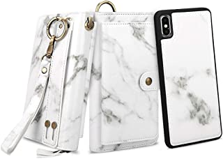 Petocase Compatible iPhone Xs Max Wallet Case, Multi-Functional PU Leather Zip Wristlets Clutch Detachable Magnetic 13 Card Slots 4 Cash Purse Protect Cover for Apple iPhone 10S Max 6.5