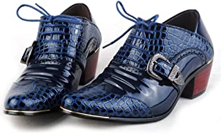 2019 Mens New Lace-up Flats Men's British Style Lace Up Pointed Business Casual Oxfords Increased Heel Crocodile Print Shoes