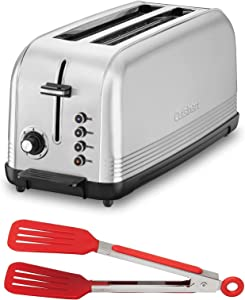 Cuisinart CPT-2500 2-Slice Long Slot Toaster (Silver) with 8-Inch Nylon Flipper Tongs Bundle (2 Items)