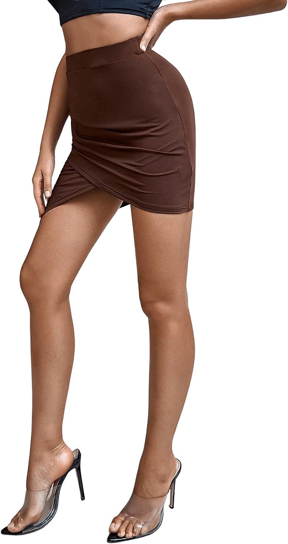 Milumia Women's Asymmetrical Hem Wrap High Waisted Ruched Bodycon Mini Skirt