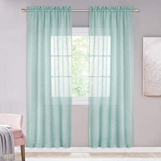 NICETOWN Textured Linen Sheer Curtains - Rod Pocket Design Privacy Translucent Voile Sheer Drapes for Bedroom Window/Kids Room (52 inches Wide, 72 inches Long, Ocean Wave, 2 Pieces)
