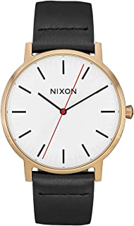 NIXON Porter Leather A1058-50m Water Resistant Men's Analog Classic Watch (40mm Watch Face, 20-18mm Leather Band)