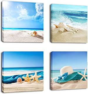 Paimuni Seashell Starfish on Beach Canvas Wall Art Contemporary Wall Art Prints for Bathroom Bedroom Living Room Decoration Office Wall Decor Ready to Hang 12x12 Inches 4 Panel