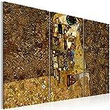 murando - Cuadro en Lienzo 120x80 cm Abstracto - Impresión de 3 Piezas Material Tejido no Tejido Impresión Artística Imagen Gráfica Decoracion de Pared - Gustav Klimt Beso l-A-0003-b-f