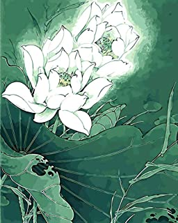 Kecoci Pink Lotus Flower Oil Painting Picture By Numbers Drawing Coloring By Numbers Diy Drawing Flowers Water Lily For Room Decoration