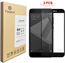 [2 Pack] Ytaland Tempered Glass for Xiaomi Redmi 4X 5.0Inch, Full Covered Anti-Fingerprints Thin 9H Hardness Screen Protector for Xiaomi Redmi 4X (Black)