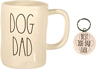 Rae Dunn DOG DAD Mug Coffee Cup Gift Set with Coordinating Best Dog Dad Ever Keychain Fathers Day Gift Set