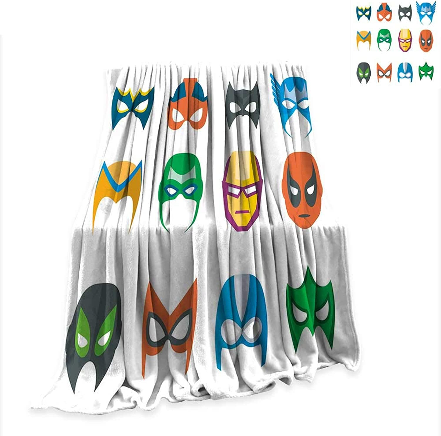 RenteriaDecor Beach Blanket Superhero,Hero Mask Female Male Costume Power Justice People Fashion Icons Kids Display,Multicolor Comfortable and Warm W54 x L72 inch