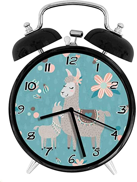 Lovely Llama Twin Bell Alarm Clock Battery Operated Loud Alarm Clock Silent Desk Clock Nightlight Home Decoration Metal Alarm Clock