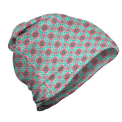ABAKUHAUS Azulejo Gorro Unisex, Baldosas cerámicas portuguesas, Tela Suave 100% Microfibra Estampada Ideal para Actividades al Aire Libre, Turquesa Oscuro Coral