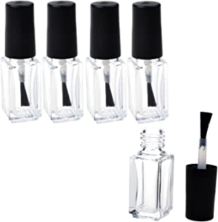 Adecco LLC Empty Nail Polish Clear Bottles with Brush Cap (5ml 5P)