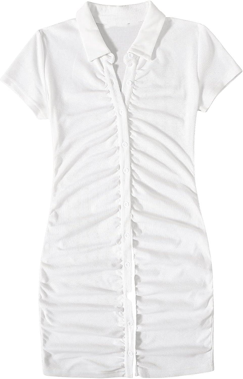 SweatyRocks Women's Short Sleeve Button Front Ribbed Knit Bodycon Mini Short Dress