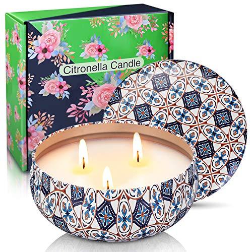 Godmorn Duftkerze Sojawachs Zitrone Kerzen, Ausgeglichenes Brennen Drei Kern Kerze,75 Stunden brennen,verwendet für Innendekoration Kerzen Weihnachtsgeschenke