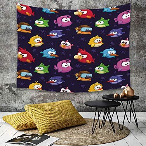 Yaoni Tapestry Pared paño Mantel Toalla de Playa,Divertida, Angry Flying Birds Figura con Varias Expresiones Juego Toy Kids Babyish Artsy,Decoraciones para el hogar para la Sala de Estar Dormitorio