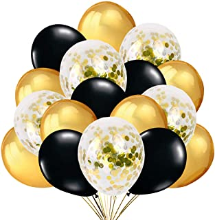 Nieuwjaarsfeest Decoratie 2022 - 50 Gouden en Zwarte Confetti Ballonnen Latex Transparante Ballondecoratie voor Nieuwjaar,...
