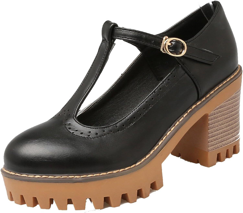 AIYOUMEI Women's T Strap Block Heel Platform Pumps shoes