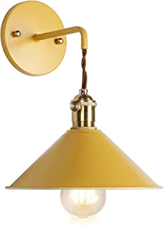 iYoee Nordic Wall Sconce Lamps,Yellow Macaron Wall lamp E26 Edison Copper lamp Holder with Frosted Paint Body Bedside lamp Bathroom Vanity Lights
