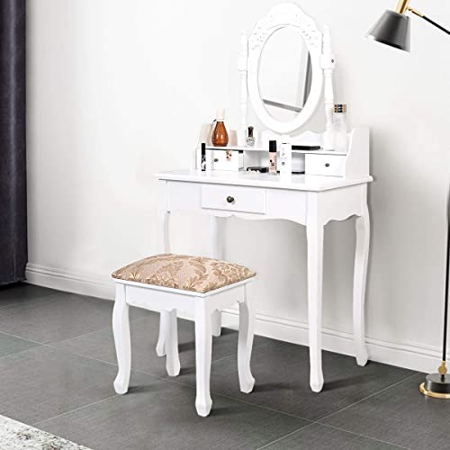 lowest Giantex Vanity Set Makeup Dressing Table with Mirror, White Vanity Tables high quality for Bedroom Bathroom Large Dress Table Vanity Desk with Padded Bench Chair, Bath Vanities 2021 with Stool outlet sale