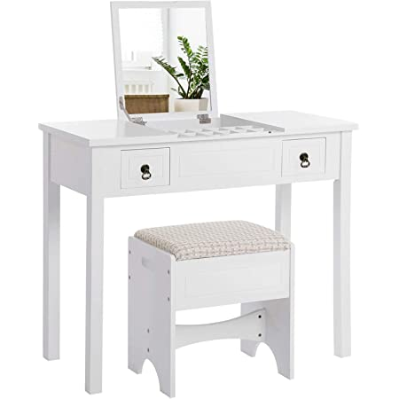 VASAGLE Makeup Vanity Set with Flip Top Mirror, Dressing Table with 2 Drawers, Cushioned Stool and 3 Removable Organizers, White