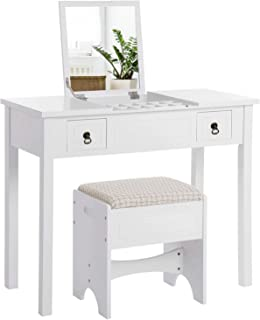 VASAGLE Vanity Set with Flip Top Mirror Makeup Dressing Table Writing Desk with 2 Drawers..