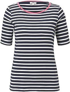 Tom Tailor Women's Stripe Contrast Neck T-Shirt