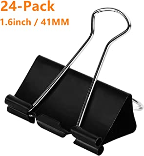 DSTELIN Large Binder Clips 1.6Inch (24 Pack), Big Paper Clamps Clips for Office Supplies, 1.6Inch/41mm Width, 0.7Inch/18mm Capacity, Black