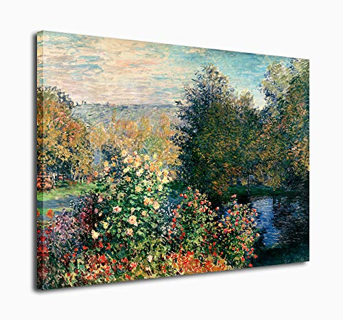 Canvas Wall Art Claude Monet Painting Garden of Montgeron in Giverny Picture Canvas Artwork...