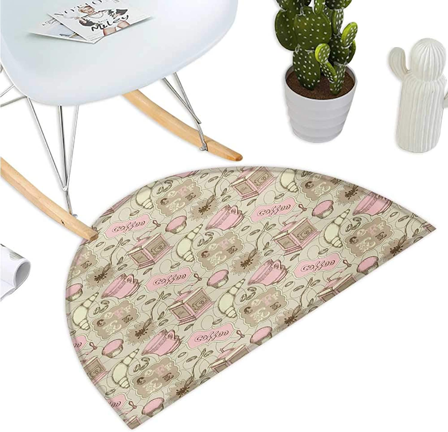 Cartoon Half Round Door mats Abstract Modern Image of Tea Pots Cups Cakes Croissants Bakery Image Entry Door Mat H 35.4  xD 53.1  Grey Pale Pink and White
