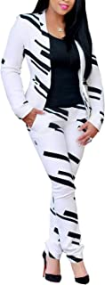 Women Lapel Collar Long Sleeve Stripe Top Jacket Pants 2 Piece Suit Set Outfits