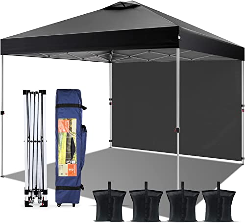 2021 Pop-up Canopy Tent 10' x 10', Outdoor Canopy Instant Shelter with discount 1 Sidewall, 4 Sand Bags, 1 Wheel-Bag and Other Accessories, Lightweight Camping Canopy wholesale Easy Set-up for Party/Exhibition/Picnic, Black sale