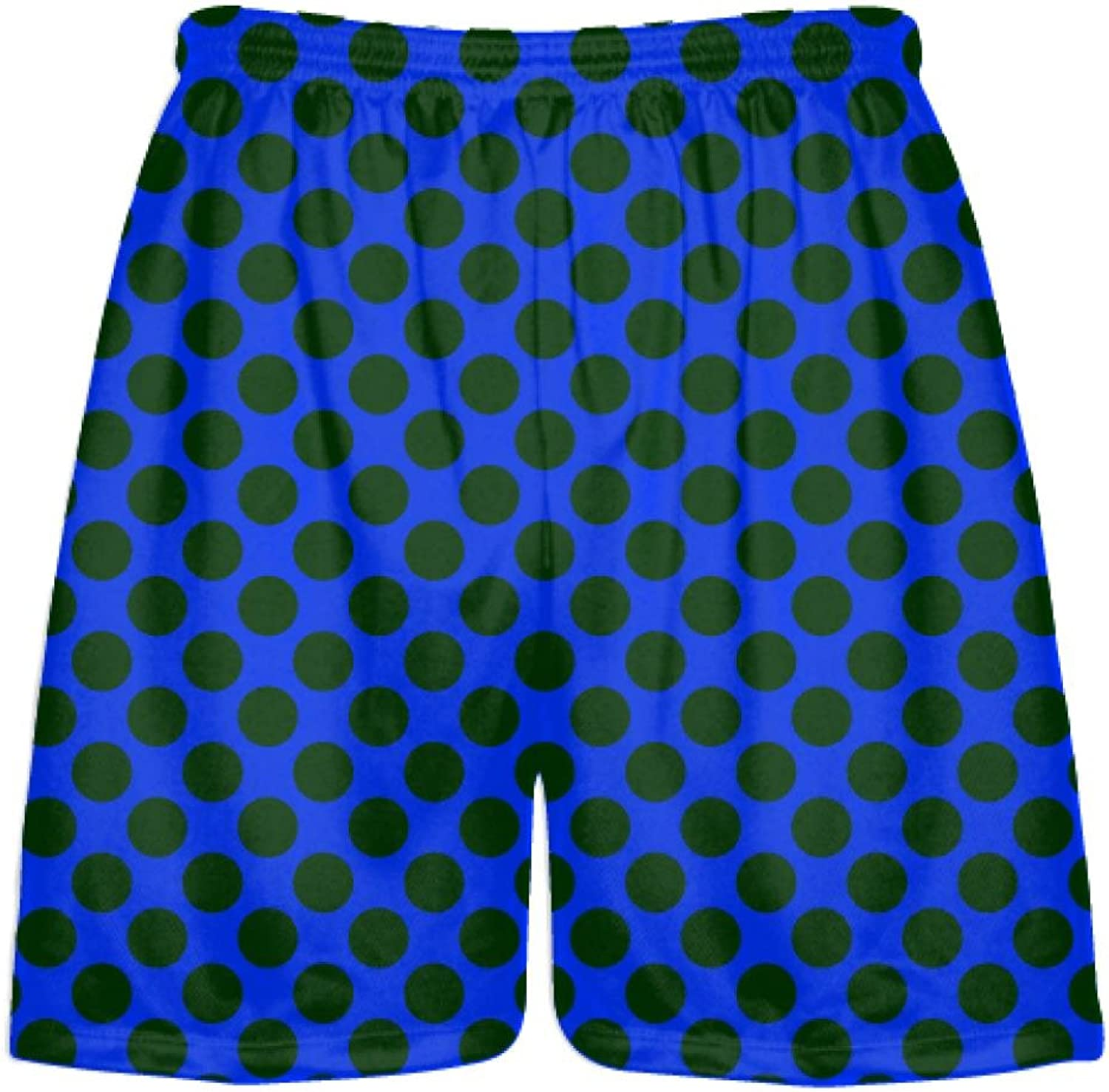LightningWear Youth Royal bluee Dark Green Polka Dot ShortsAthletic Shorts PocketsYouth Adult Shorts Youth, Royal bluee