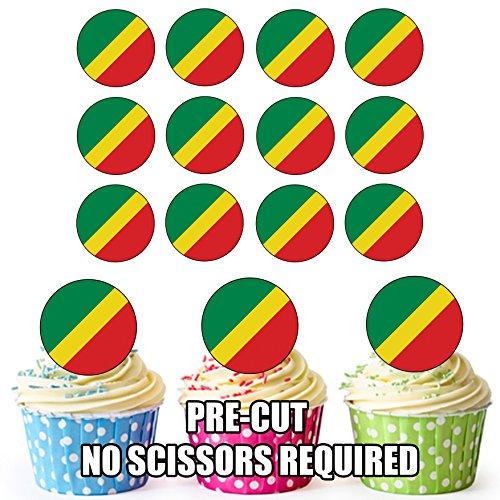 Congo Vlag - 24 Eetbare Cupcake Toppers/Verjaardag Cake Decoraties - Easy Precut Circles