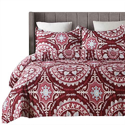 Vaulia Lightweight Microfiber Duvet Cover Set, Bohemia Exotic Patterns Design, Red/Grey Reversible Color - Queen Size