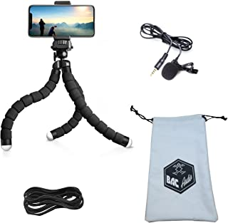 BAC Audio ESSENTIAL VLOGGING EQUIPMENT with Flexible Octopus Tripod, Tablet or Cellphone video recording and Lavalier Microphone for Apple, iPhone, Android Smartphone Youtube Interview and Studio