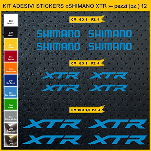 Pimastickerslab Aufkleber Fahrrad SHIMANO XTR -Kit Aufkleber Stickers 12 Stück – bici Bike Cycle wählbar Cod.0947 (053 BLU LEGGERO)