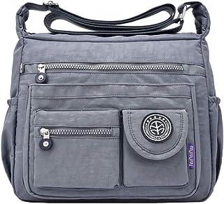 JINQIAOER Nylon Casual Backpack Lightweight Multi-Pocket Shoulder Bag Large Capacity Wallet