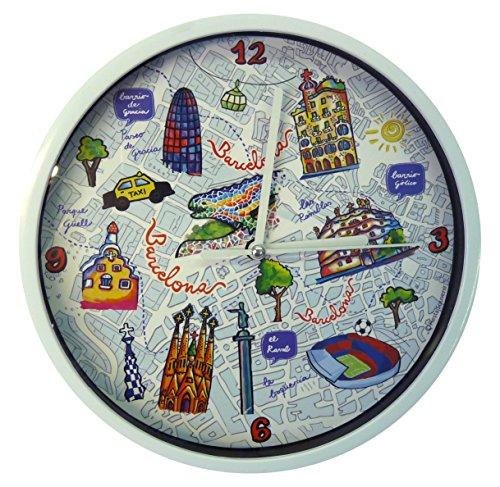 Nadal Reloj Mediano Mapa Barcelona España, Multicolor, 20 x 20 x 3,45 cm