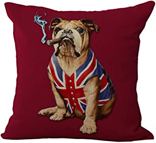 Creative personality American flag and Union Jack pet dog Home Throw Pillow Case Personalized Cushion Cover NEW Home Office Decorative Square 18 X 18 Inches (English Bulldog)