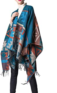 XXXITICAT Women's Native American Trendy Cashmere Plaid Pattern Wrap Shawl Cardigan Poncho Cape Scarf