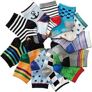 12 Pairs Toddler Boy Girl Socks Non Skid Slipper Socks Grips 12-36 Months Baby