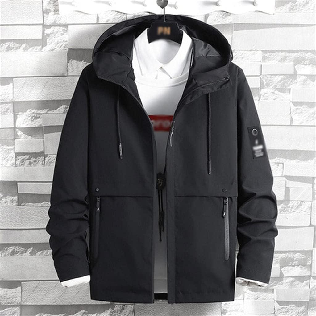 ZLDGYG Men's Jackets Casual Hooded Workwear Jacket Windbreaker Men (Color : Black, Size : 4XL)