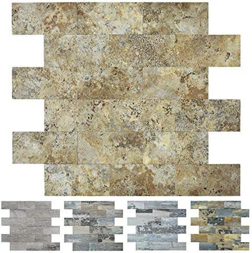 Art3d 10 Sheet Faux Stone Backsplash Tile Peel and Stick for Kitchen 13 5 x11 4 Ecru Slate product image