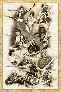 Digital Fusion Prints Guitar Legends (Jimmy Page, Prince, Slash, Eric Clapton, Muddy Waters, Ry Cooder, Eddie Van Halen, Jimmy Hendrix, Robert Johnson.) Retro Poster 24